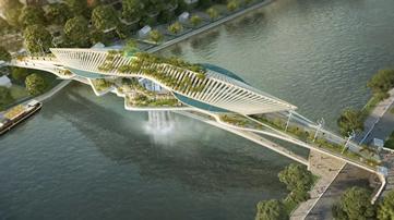 巴黎塞纳河瀑布景观桥设计方案公布/RESCUBIKA CREATIONS